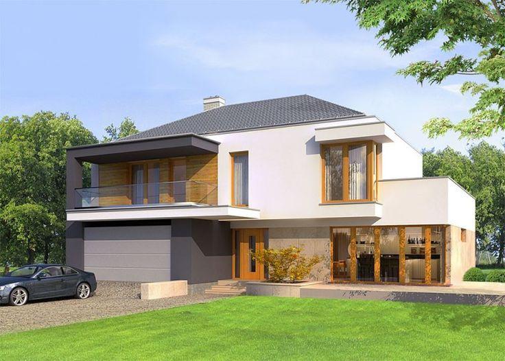 Dom jednorodzinny, piętrowy, z dwustaniskowym garażem.