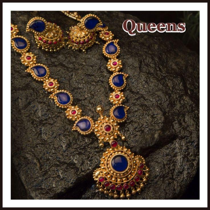 Antique Blue Haram Necklace Designs, Antique Blue Stone Necklace Designs…
