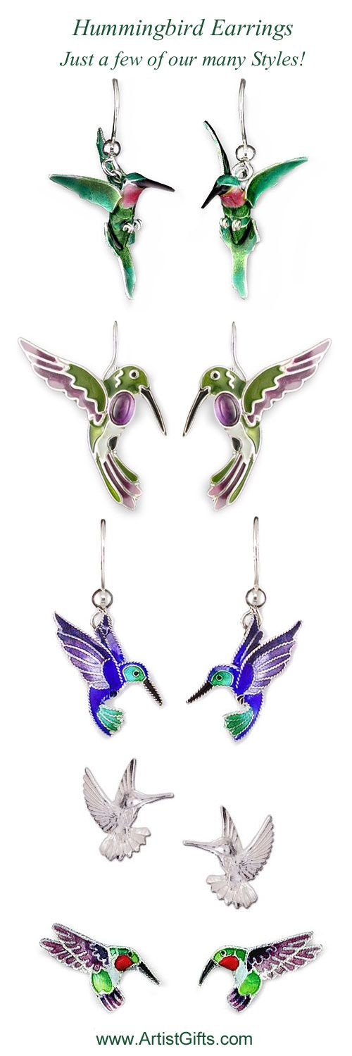 See our large collection of Hummingbird Earrings! Many styles have matching necklaces too! Enjoy Free Shipping Everyday on all our hummingbird jewelry and gifts at: www.ArtistGifts.com