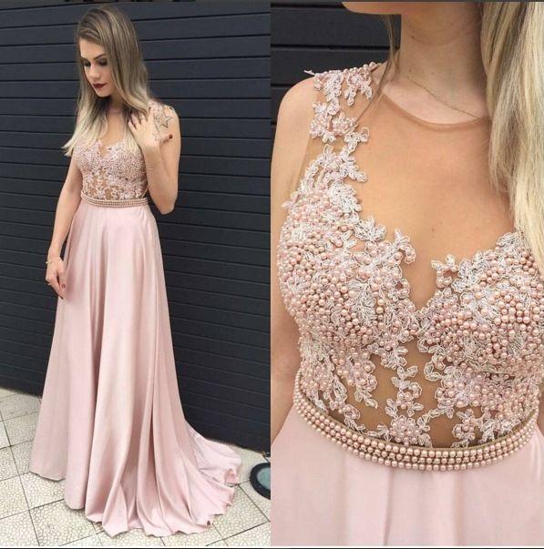 vestido de festa rosa claro longo