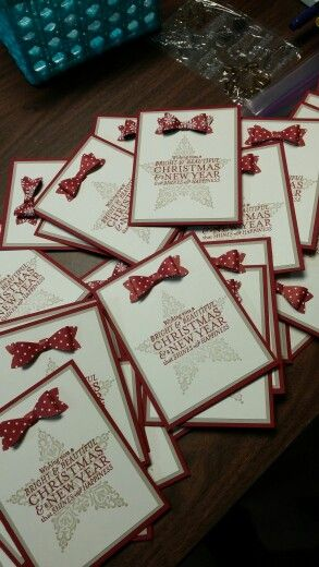 Christmas cards done with new awesome stampin up builder bow punch