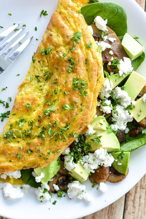Mushroom and Goat Cheese Omelet with Spinach and Avocado:  This might be the ultimate omelet recipe. Mushroom, spinach, avocado, and goat cheese are a match made in heaven, especially when tucked inside warm egg.