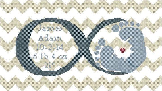 Baby moderno Cross Stitch Pattern simbolo di oneofakindbabydesign