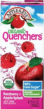 Organic Quenchers Razzberry Apple Splash is a great-tasting, refreshing blend of ripe, organic raspberries and apples perfect for quenching your thirst!