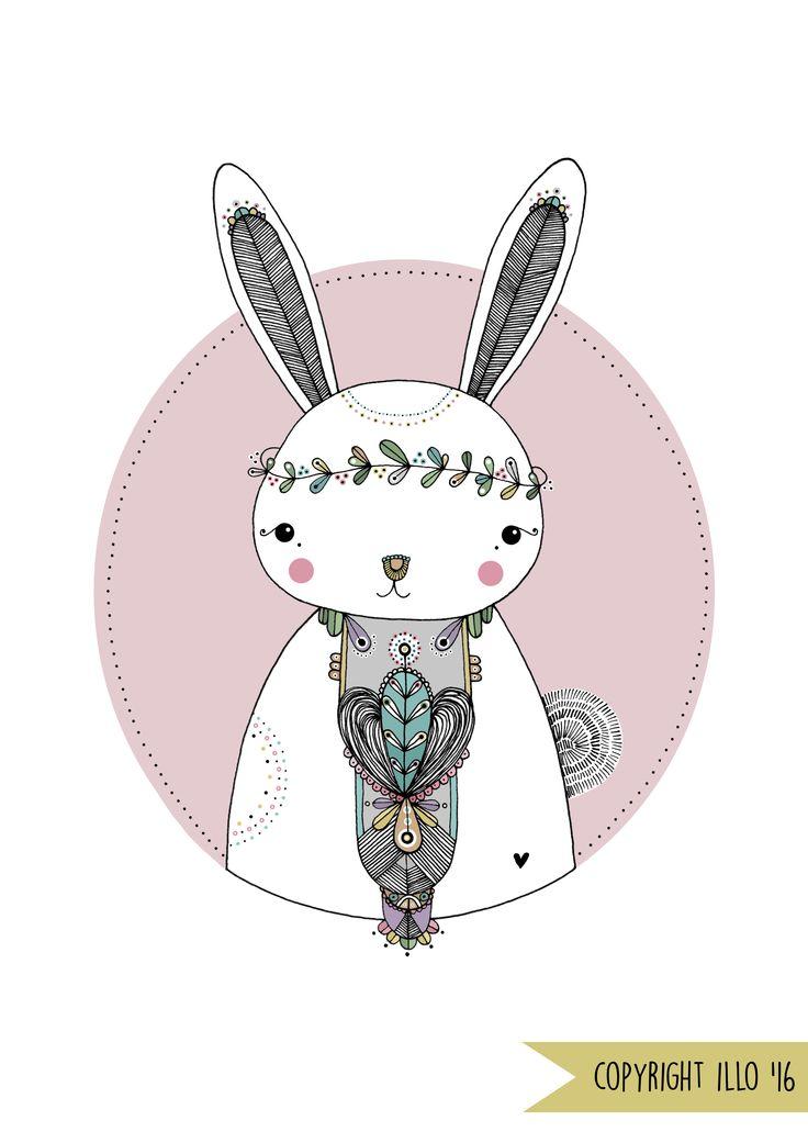 Copyright illo 2015 | All artwork belongs to Vivienne van Deventer | Rabbit Art-print | Illustration | Rabbit | Bunny | Patterns | Hand Illustrated | Nursery