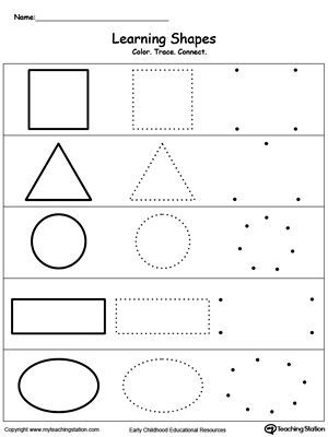 Learning Basic Shapes: Color, Trace, Connect, and Draw: Learn the basic shapes by coloring, tracing, connecting the dots and finally drawing each shape with My Teaching Station printable Learning Basic Shapes worksheet.