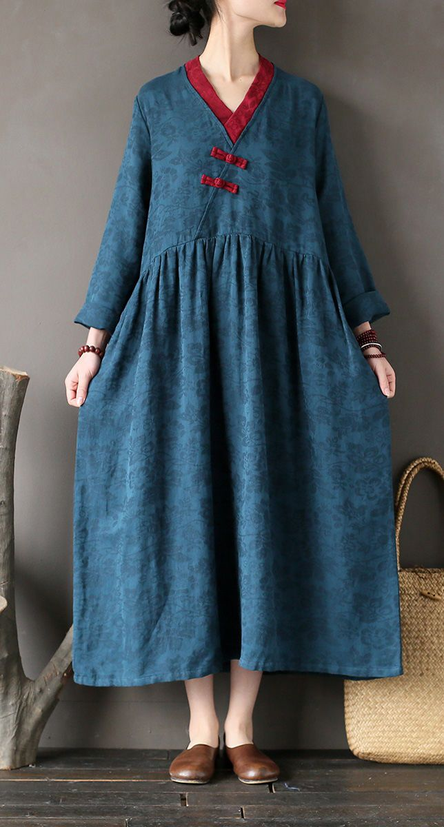 1bb424cfad French linen dress stylish v neck patchwork Wardrobes blue asymmetric long  Dresses