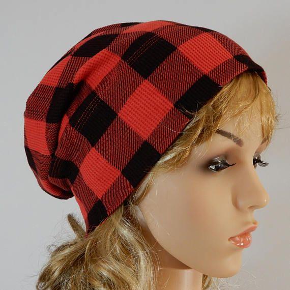 Summer slouchy hat Buffalo plaid beanie Summer beanie for
