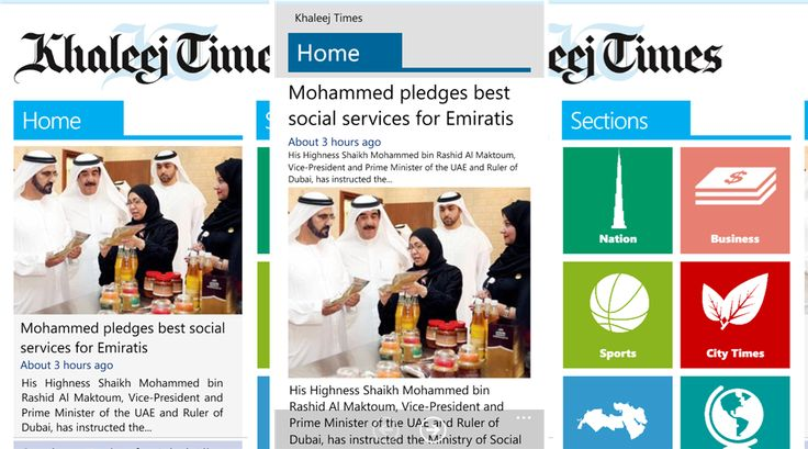 Khaleej Times english language newspaper application for Windows Phone 8 devices   Khaleej Times daily English-language newspaper in Dubai, United Arab Emirates, and is the second most popular English -language newspaper published in the United Arab Emirates mei, launched Windows Phone 8 application, which can be downloaded from the Windows Phone Store - 1.0.0.0. The publication started in 1978, the United Arab Emirates
