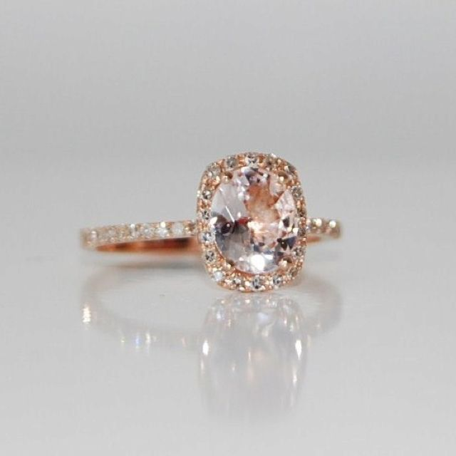 Peach sapphire, set in rose gold. I love peach sapphires. They're just as pretty as diamonds, with a blush tint.