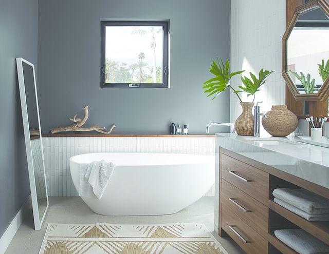 Southwest Style Wall Color Charcoal Slate Ceiling Trim Color Atrium White Best Bathroom Paint Colors Tranquil Bathroom Bathroom Wall Colors