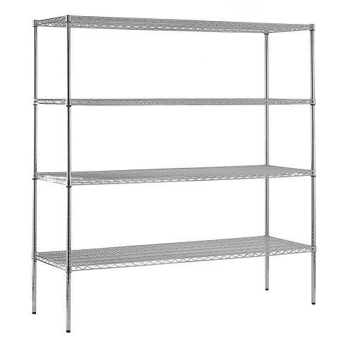 """Sandusky WS721874-C Chrome Steel Heavy Duty Adjustable Wire Shelving, 2400 lbs Capacity, 72"""" Width x 74"""" Height x 18"""" Depth, 4 Shelves by Sandusky Lee. $171.99. Chrome wire shelving. Strong and durable welded wire construction with open design permits sprinkler, air and light penetration and reduces dust build-up. Includes four shelves that easily adjust in 1"""" increments. Adjustable levelers for uneven flooring. The four shelves are fully adjustable. Contemporary ..."""