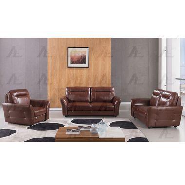 3 pcs Plush Back Cushion Top-Grain Brown Italian Leather Sofa Set