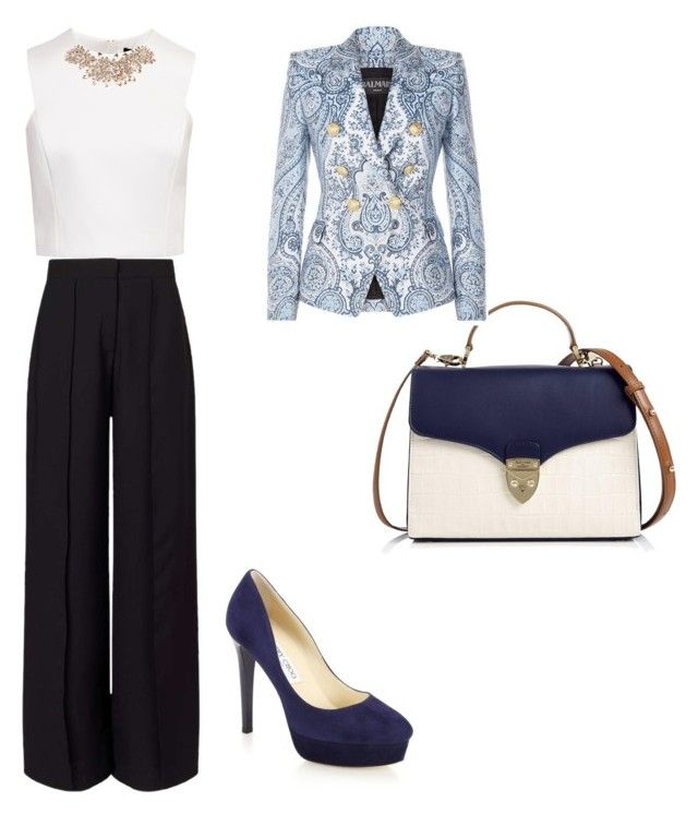 """kata oficina"" by adriana-rojas-i on Polyvore featuring moda, Ted Baker, Miss Selfridge, Aspinal of London, Jimmy Choo y Balmain"