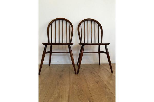 Vintage Ercol Dining Chairs Set Of 4 1960's 1970's Original Seat Pads | Vinterior   #midcentury #modern #20thcentury