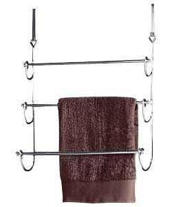 this 3 tier towel rail in stylish chrome uses a space saving design that attaches to the back of your bathroom door overdoor size