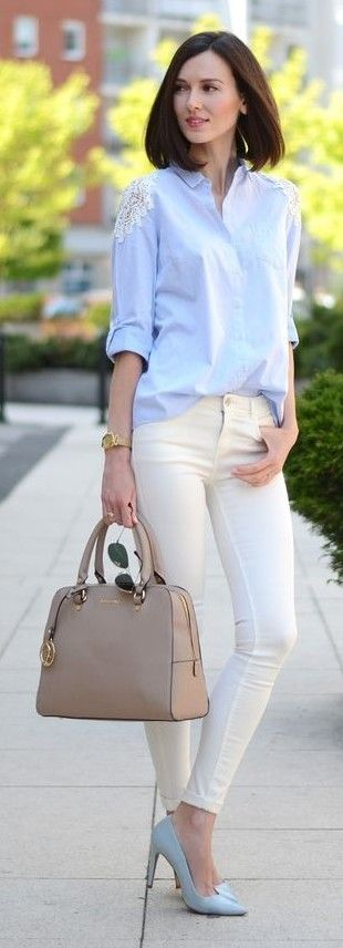 #spring #fashionistas #outfit #ideas | Light blue shirt + ivory denim + baby blue pumps | DaisyLine Source