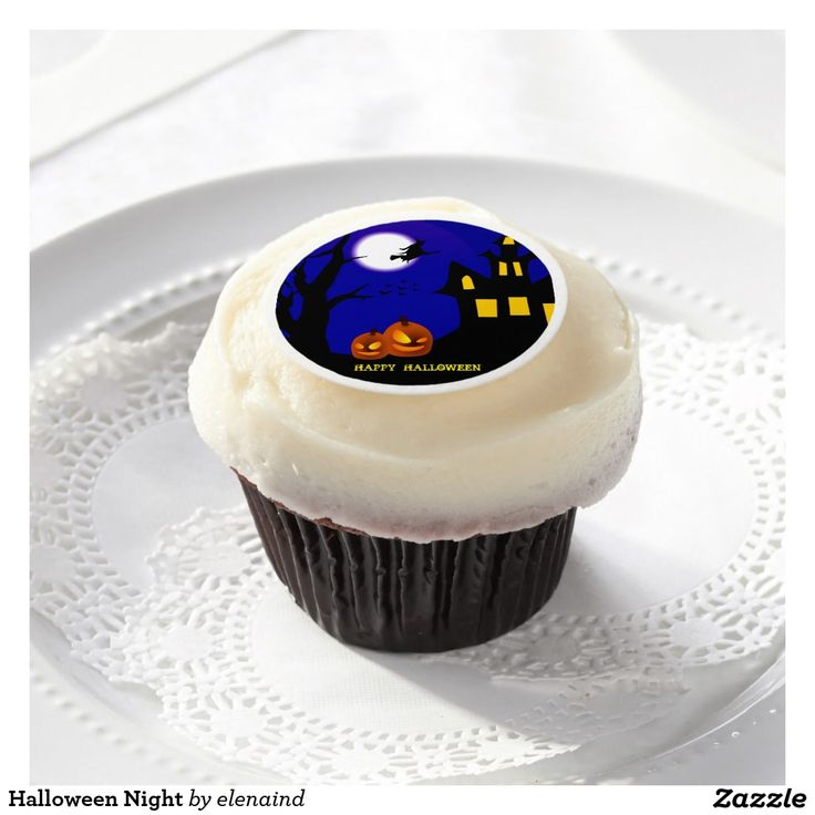 #Zazzle Halloween Night Edible Frosting Rounds by Elenaind