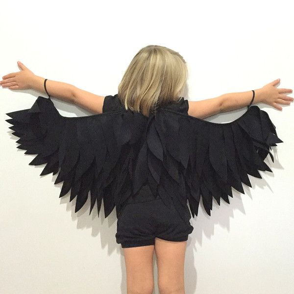 Black Raven Wings Childrens Costume Halloween Dressup Crow, Black bird ❤ liked on Polyvore featuring costumes, feather costume and wing costume