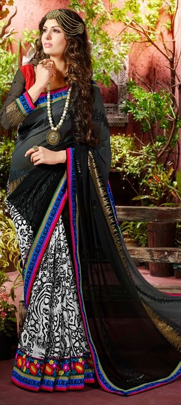 147205: #Saree - Faux Georgette, Art Silk, Border, Lace, Machine #Embroidery, Resham, Stone, Patch, Zari  #patchwork #black #monochrome #floral #lace #partywear #onlineshopping #sale