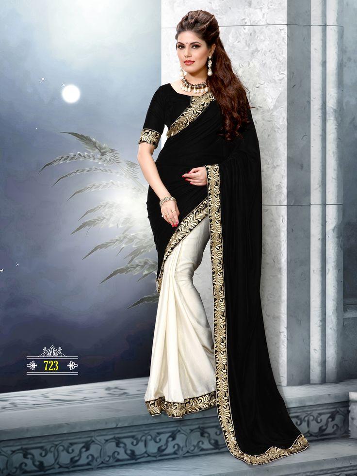 Black Velvet with satin saree