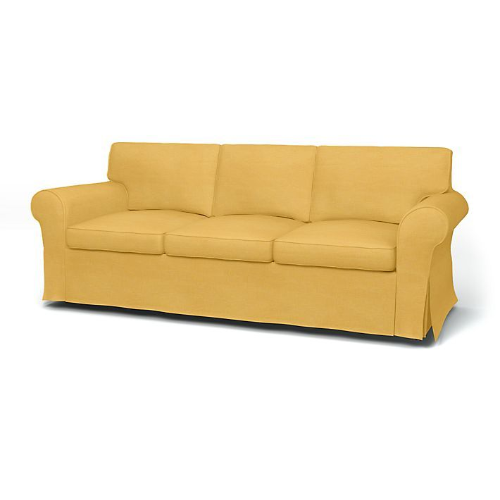 Ektorp, Sofa Covers, 3 Seater, Regular Fit with piping using the fabric Tegnér Melange Straw Yellow