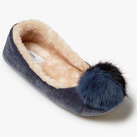 Buy John Lewis Tonal Pom Pom Ballerina Slippers Online at johnlewis.com - size 6