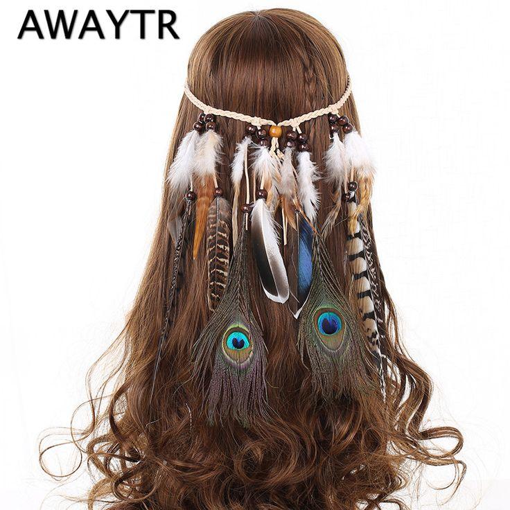 Haar Veren Hoofdband voor Vrouwen Meisje 2017 Mode Boho Haaraccessoires Indian Kralen Gypsy Veer Gebreide Riem Haarband