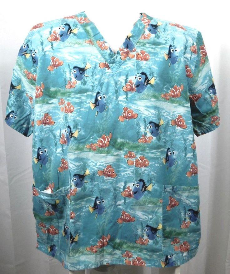 Disney Pixars Finding Nemo Womens Scrub Top L Blue 100% Cotton Dory NEMO #Disney