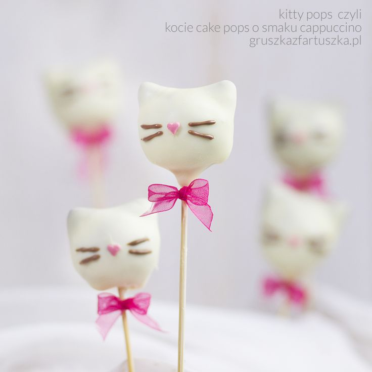 kitty cat pops - cappuccino cake pops in white chocolate