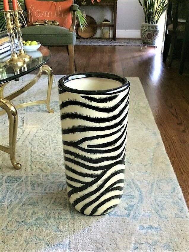Vintage Zebra Print Umbrella Stand Animal Decor Ceramic Etsy British Colonial