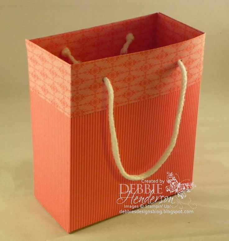 "Learn how to make a gift bag using two sheets of 12"" x 12"" designer paper on my blog. Tutorial included. Stampin' Up! supplies by Debbie Henderson, Debbie's Designs"