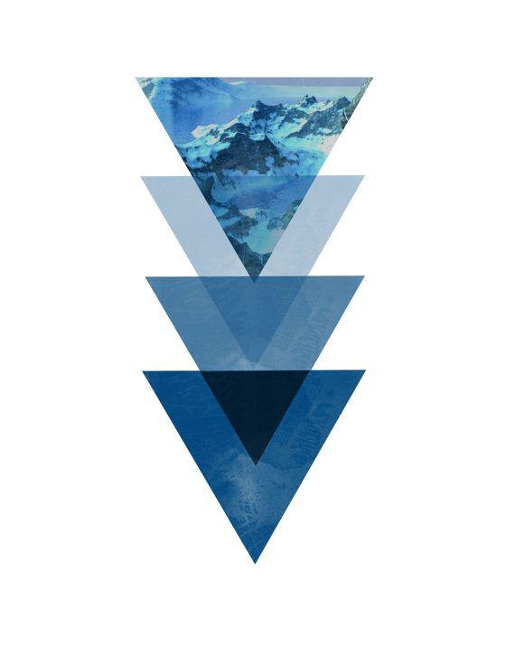 Triangolo stampa triangoli blu stampa d'arte geometrica