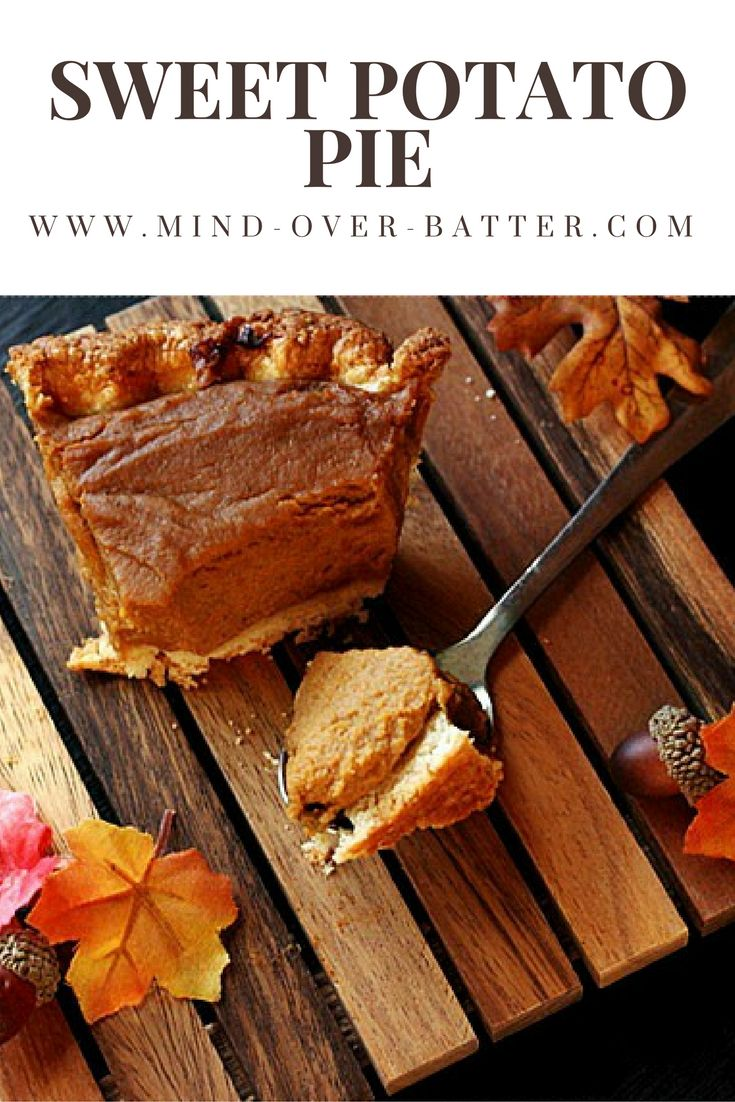 Sweet Potatoes don't get the props they deserve, so I'm showing this sweet potato pie in your faces! Lightly sweetened buttery crust and a Sweet Potato Pie filling bursting with fall spices and a hint of lemon zest! This recipe makes enough for two - One to eat and one to share!  - www.mind-over-batter.com