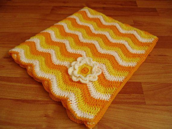 Crochet Baby Blanket, Yellow and Cream Crochet Baby Blanket with Flower