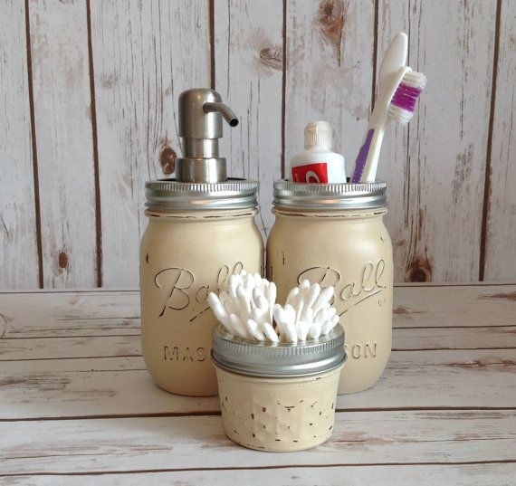 Hand painted beige ball mason jar bathroom set for Bathroom decor mason jars