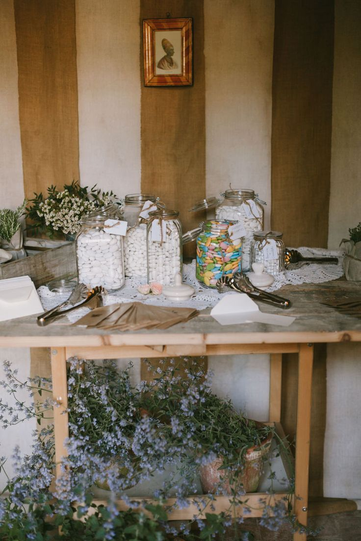 rustic candy buffet