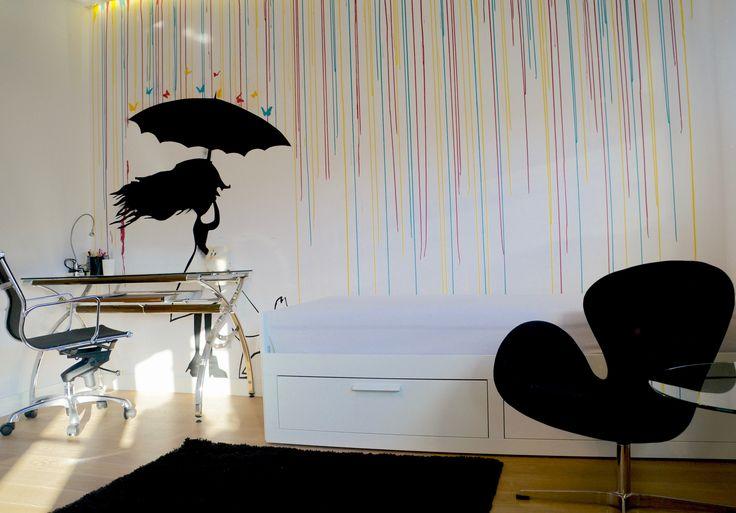pokój nastolatki - street art-ściana , według projektu lokatorki