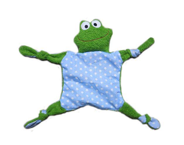 Zuckersüsses Frosch Schnuffeltuch. Angefertigt aus grünem Frottee und Baumwollstoff in rosa  Größe (Kopf und Körper) ca. 28cm gemessen ohne Zipfel