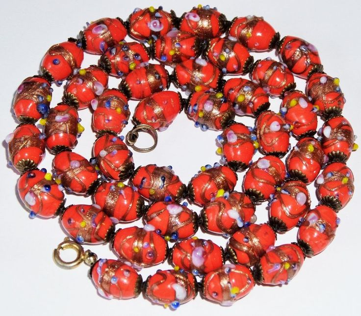 Art Deco Knotted RARE SMALL OVAL Red Venetian Wedding Cake Glass Bead Necklace #StrandString