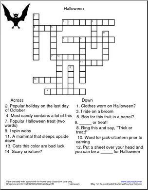 a quality educational site offering 5000 free printable theme units word puzzles writing - Halloween Crossword Puzzles With Answers