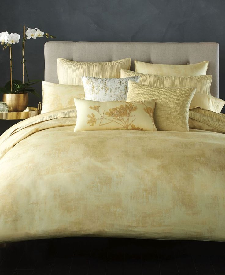 donna karan home atmosphere gold quilted european sham bedding collections bed u0026 bath macyu0027s