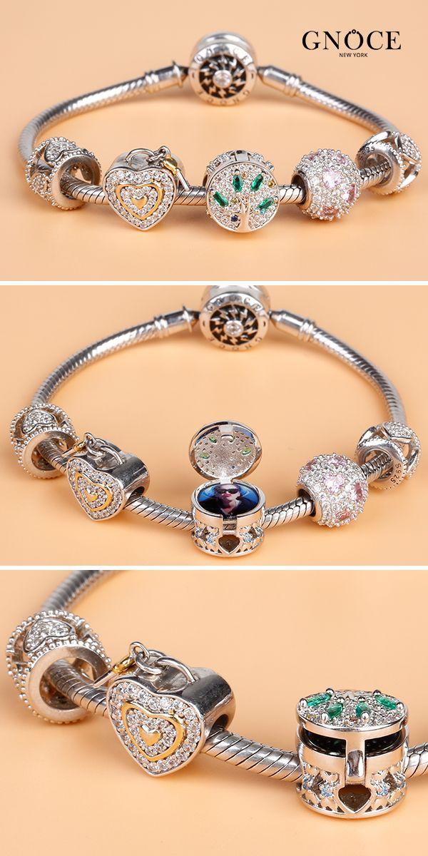 Bamoer Européen Argenté S925 Garde Charme Avec Rose Zircon Fit bracelets bijoux