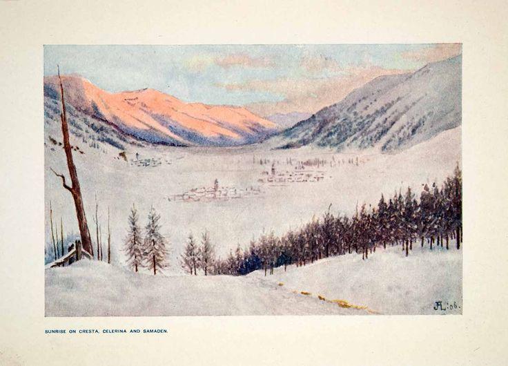 1907 Color Print Sunrise Cresta Celerina Samaden Swiss Alps Switzerland XGPB6