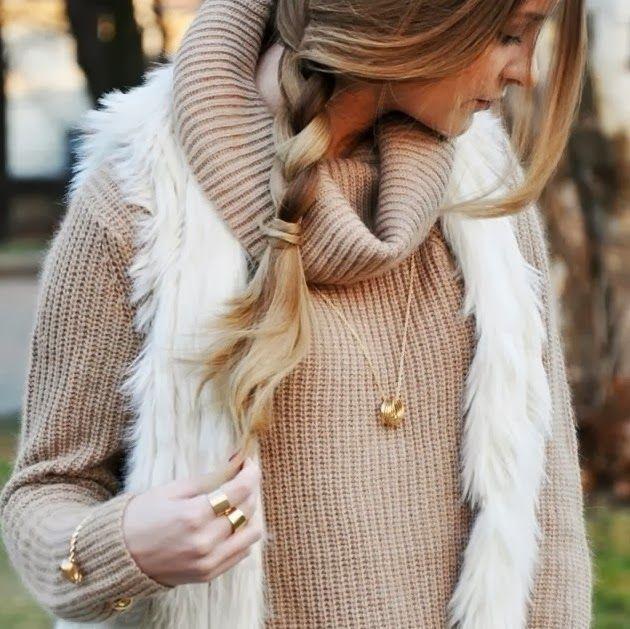 fall outfit ideas beige knit + faux fur vest