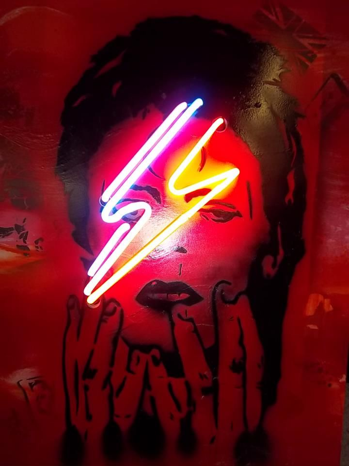 Ziggy Stardust, David Bowie, Pop Art, Neon Art