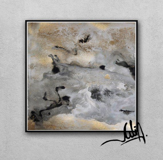 90 Abstract Watercolor Gold Leaf Painting Grey Wall Art Gold