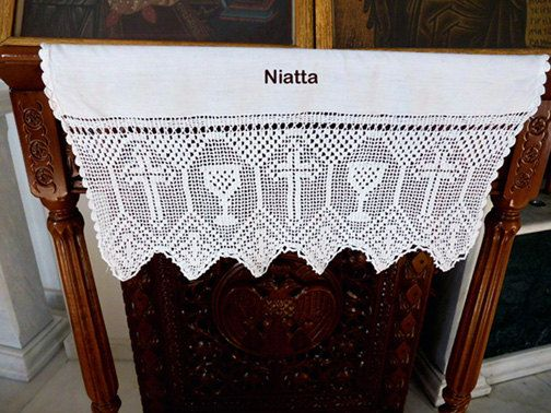 Altar lace pattern filet crochet religious church vintage trim chart PDF instant download edging Niatta