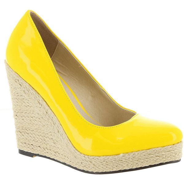 Michael Antonio Anabel Women's Yellow Pump 10 M ($59) ❤ liked on Polyvore featuring shoes, pumps, yellow, yellow pumps and yellow shoes