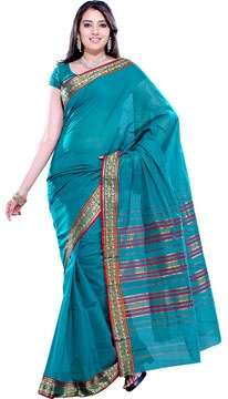 Teal Blue Handloom Cotton Saree